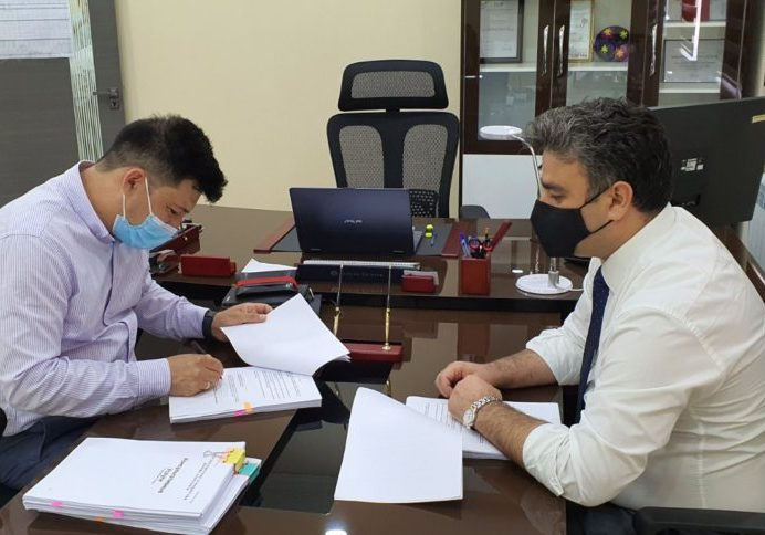 : Mr. Sulton Imomov (L), Managing Director of Central Asia International Consulting, signed the contract for the project on behalf of PRIMEX in the presence of Mr. Mahmudzoda Isfandiyor, Project Administration Group (PAG) Manager for the Maternal and Child Health Integrated Care Project (MCHICP)